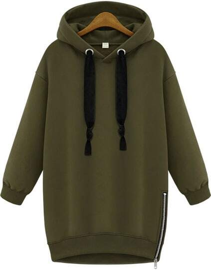 Hooded Zipper Loose Green Sweatshirt