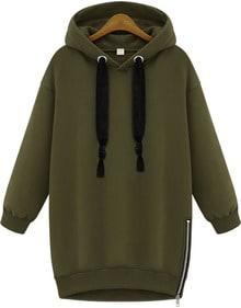 Kapuzen-Sweatshirt mit Reißverschluss, grün