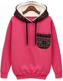 Hooded Pocket rose Sweatshirt