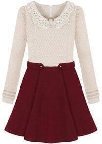 Color-block Beaded Collar Pleated Dress
