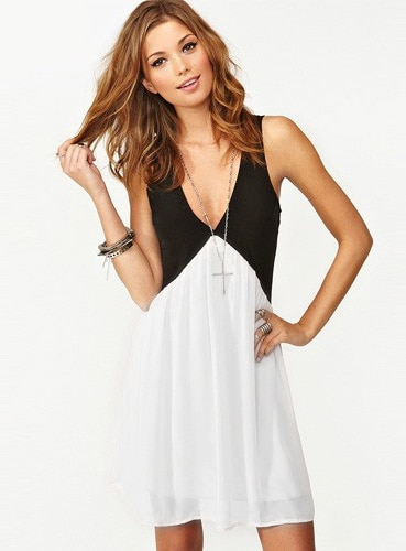 Colour-block V Neck Hollow Chiffon Dress - $10.89