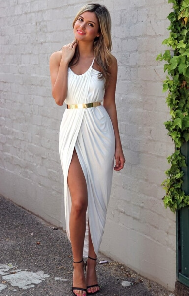 Spaghetti Strap Split White Dress - $21.00