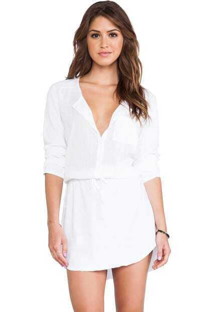 Pocket Loose White Dress pictures