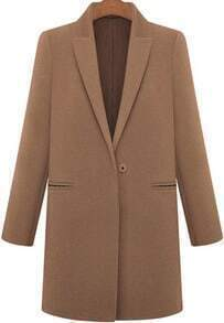 Lapel Pockets Woolen Coffee Coat
