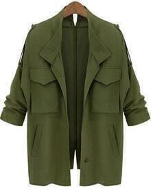 Pockets Loose Army Green Coat