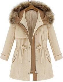 Hooded Drawstring Beige Coat