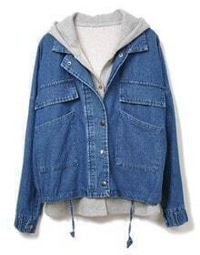Hooded Drawstring Two Pieces Denim Outerwear
