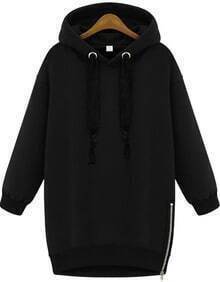 Hooded Zipper Loose Sweatshirt