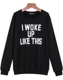 Letters Print Loose Black Sweatshirt