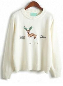 White Long Sleeve Deer Print Sweater
