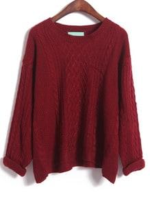Wine Red Long Sleeve Diamond Patterned Knit Sweater