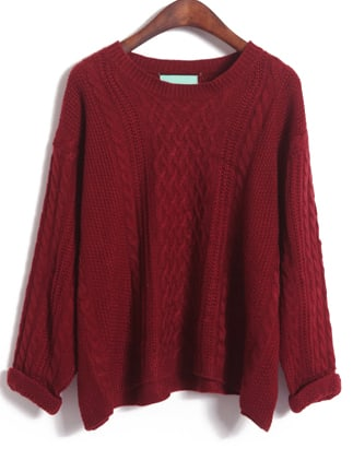 Wine Red Long Sleeve Diamond Patterned Knit Sweater