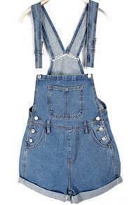 Rolled Cuffs Blue Denim Suspender Shorts