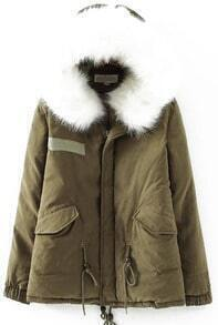 Faux Fur Hooded Loose Navy Coat