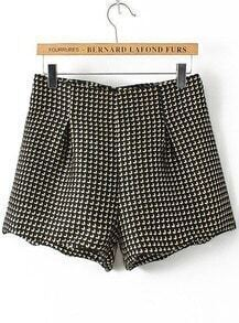 Houndstooth Woolen Black Shorts