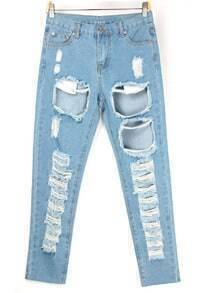 Bleached Ripped Blue Denim Pant