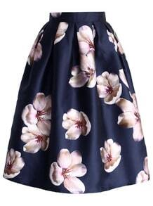 jupe imprimé fleur -bleu marine