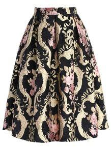 Roses Intarsia Midi Black Skirt