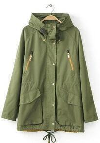 Hooded Drawstring Zipper Pockets Coat