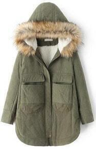 Faux Fur Hooded Pockets Green Coat