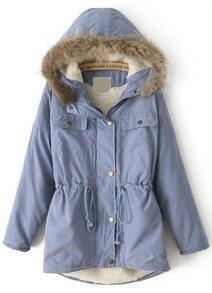 Faux Fur Hooded Drawstring Blue Coat