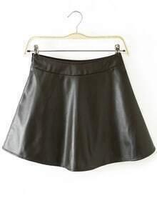 Flare Flouncing PU Skirt