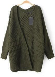 Cable Knit Loose Green Cardigan