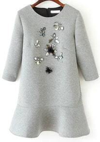 Gemstone Embellished Flouncing Grey Dress