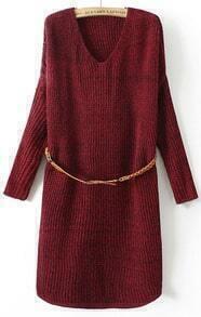 V Neck Knit Sweater Red Dress