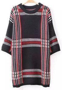 Check Print Loose Sweater