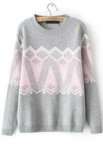 Geometric Print Loose Sweater