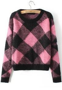 Diamond Patterned Mohair Crop Sweater