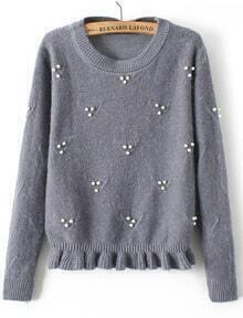 Bead Flouncing Crop Grey Sweater