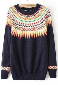 Tribal Print Knit Navy Sweater