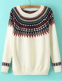 Tribal Print Knit White Sweater