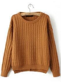 Check Pattern Split Knit Khaki Sweater