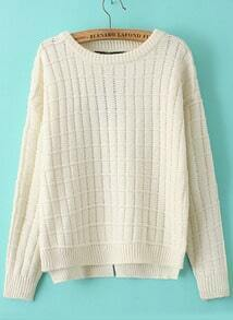 Check Pattern Split Knit Beige Sweater