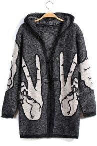 Hooded Hand Print Loose Cardigan