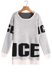 ICE Print Loose White Sweater