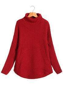 High Neck Pockets Red Sweater