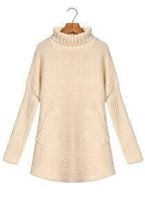 High Neck Pockets Apricot Sweater