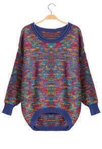 Dipped Hem Loose Blue Sweater
