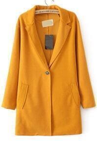 Lapel Pockets Woolen Yellow Coat