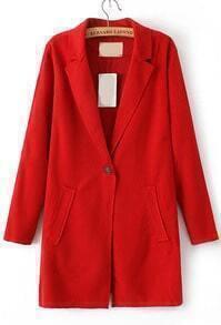 Lapel Pockets Woolen Red Coat