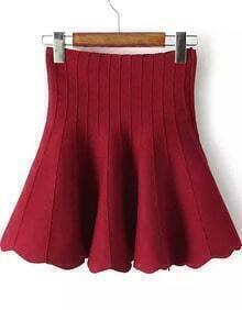 Flouncing High Waist Red Skirt