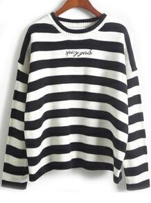 Embroidered Striped Black Sweater