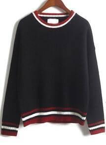 Striped Trim Black Knit Sweater