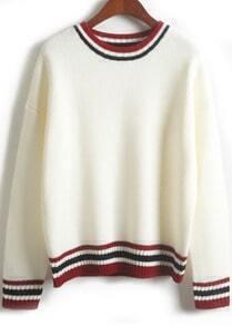 Striped Trim White Knit Sweater