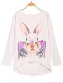 Rabbit Print Dipped Hem Beige Blouse