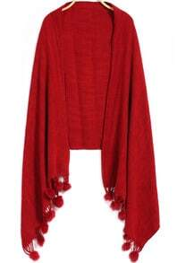 Twisted Ball Tassel Red Scarf